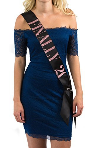 Dulcet Downtown Black Satin Finally 21 Birthday Sash with Rose Glitter Lettering -