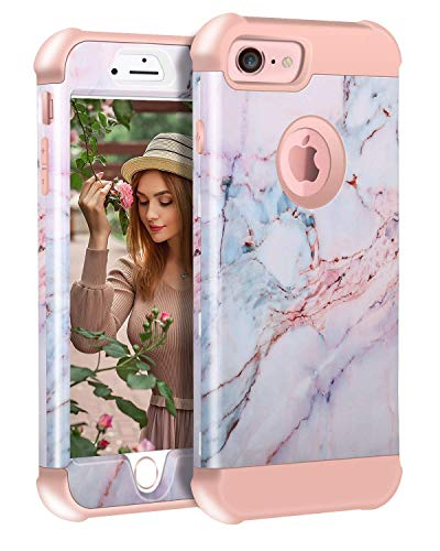 SUMOON Marble Case Designed for iPhone 8, iPhone 7, iPhone 6, iPhone 6s, 4.7 Inch, 3-in-1 Hard PC + Soft Silicone Hybrid Shock-Absoring Anti-Scratch Protective Case (Rosegold #02)