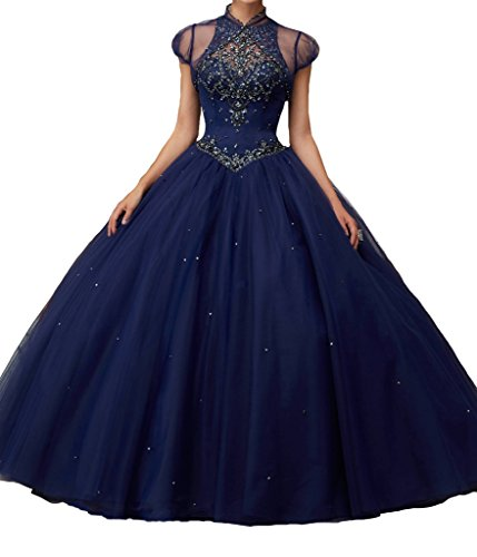 BoShi Women's O neck Sweet 16 Beads Wedding Party Christmas Quinceanera Dresses 0 US Navy Blue by Unknown