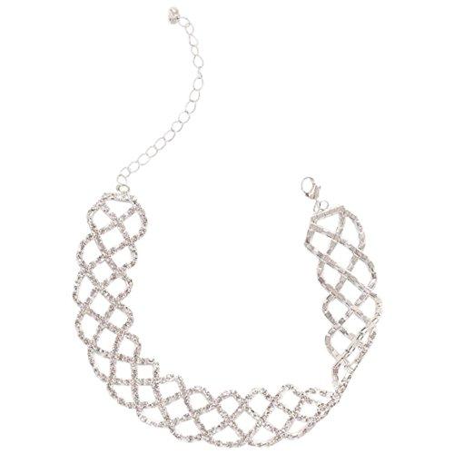 David's Bridal Wide Crisscross Rhinestone Choker Style 22494N, Silver
