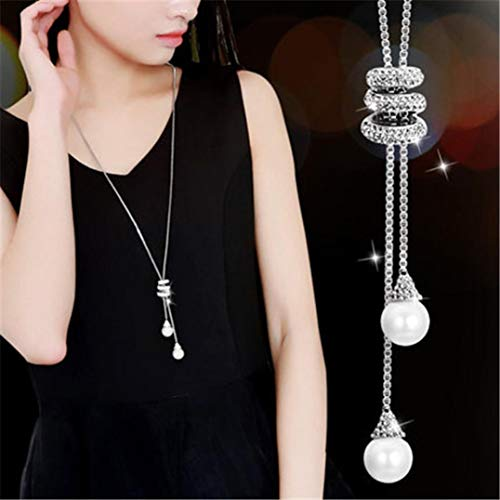 Wensltd Clearance! Women's Luxury Crystal Pearls Pendant Necklace Sweater Chains (Silver)