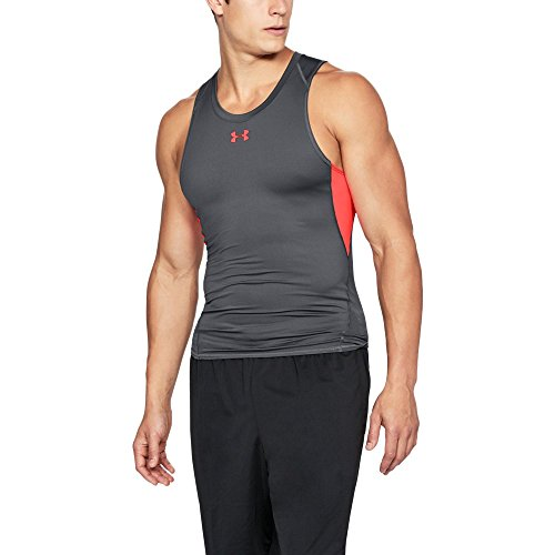 Under Armour Men's HeatGear Armour Compression Tank Top, Rhino Gray (076)/Neon Coral, XXX-Large by Under Armour (Image #1)