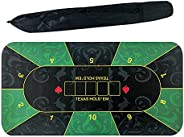 Portable Rubber Poker Table Pad, Durable Comfortable Anti-Slip Poker Table top Layouts Mat Tablecloth with Sto