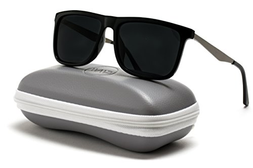 WearMe Pro - Flat Top Polarized Lens Square Black Sunglasses for - Flat Mens Sunglasses
