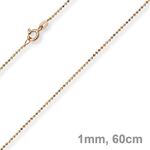 1mm Chaîne Boule diamanté Chaîne Or Collier en or rose 585, 60cm