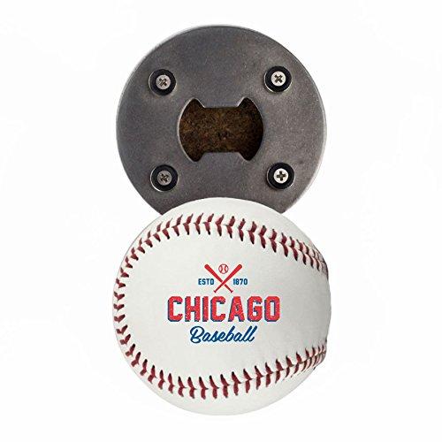 Bottle Caps Mlb (Chicago C Bottle Opener, Made from a real Baseball, The BaseballOpener, Cap Catcher, Fridge Magnet)