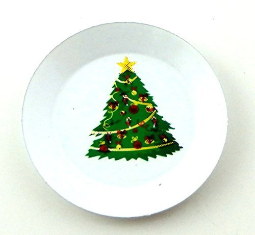 Melody Jane Dolls House Christmas Tree Plate Miniature Kitchen Dining Room Table (Miniature Christmas Plate)