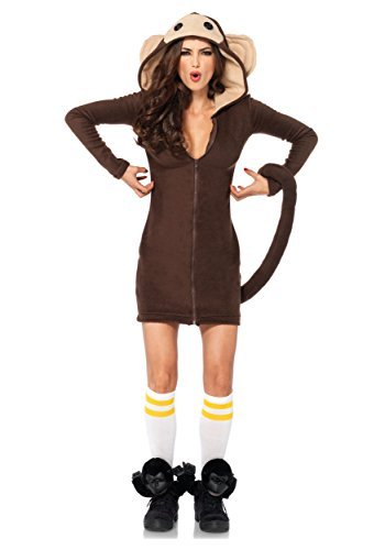 Curious George Man In The Yellow Hat Costume (Leg Avenue Women's Cozy Monkey Costume, Brown, Small)