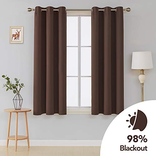 (Deconovo Room Darkening Thermal Insulated Grommet Top Blackout Window Curtains Pair for Living Room Chocolate 42x63-Inch )