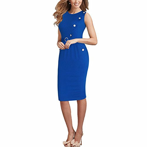 Janecrafts Femmes Celebrity Inspiré Button femmes col rond manches Pocket Slim équipée Midi moulante moulante Robe portefeuille avec ceinture robe bleue