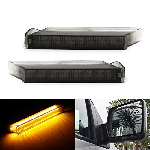 iJDMTOY (2) Smoked Lens Amber LED Side Mirror Turn Signal Lamps For Ford F150 Expedition, Lincoln Mark LT (Powered by 24 Pieces of SMD LED Chips) ()