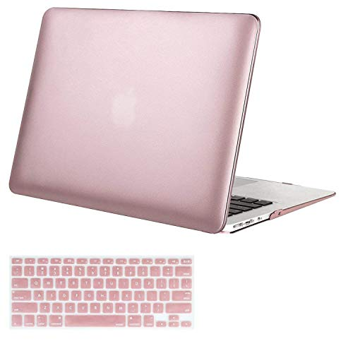 MOSISO Plastic Hard Shell Case & Keyboard Cover Compatible MacBook Air 11 Inch (Models: A1370 & A1465), Rose Gold