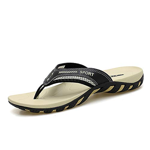 TUOBUQU Mens Comfortable Flip Flops Summer Beach Sandals Outdoor Thong Flip Flops with Arch Support for Women 43 Brown