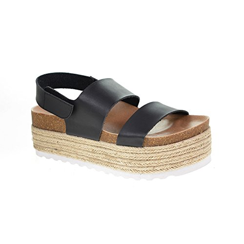 Dirty Laundry by Chinese Laundry Women's Peyton Espadrille Wedge Sandal, Black Smooth, 7 M US