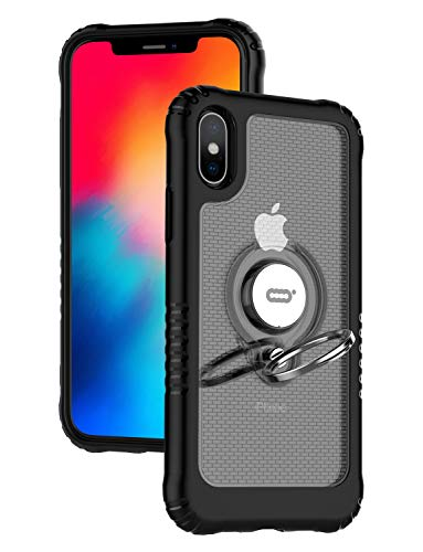 ICONFLANG Compatible Phone Case for iPhone Xs 5.8 with Ring Kickstand 360 Degree Rotating Drop Airbag Protection Shock Absorption Case [Compatible Magnetic Car Mount Case] (Clear)