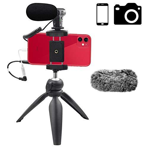 Smartphone Camera Video Microphone Kit,Veksun ASMR Microphone for YouTube Windscreen 3.5mm Jack External Mic for Phone iPhone Samsung DSLR Canon Nikon with Mini Tripod