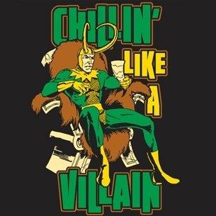 Superhero And Villain Ideas (Loki Men's Chillin' Like A Villain Slim Fit T-shirt XXX-Large Black)