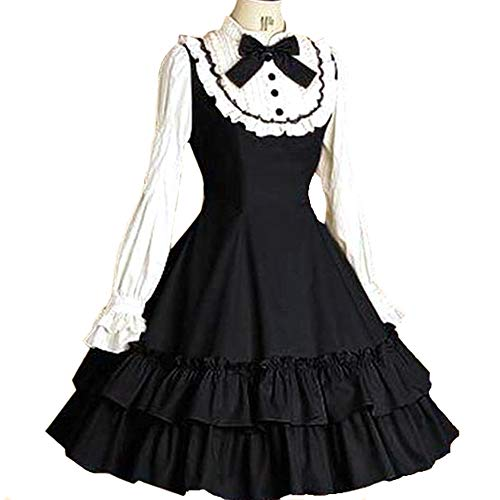 I-Youth Women's Long Sleeves Multi Layers Classic Sweet Lolita Dress (Customization: Tell us Your Measurements, Black and -