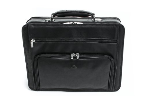 Tony Perotti Men's Italian Cow Double-Pocket Compartment Zip Around Leather Laptop Briefcase, Black