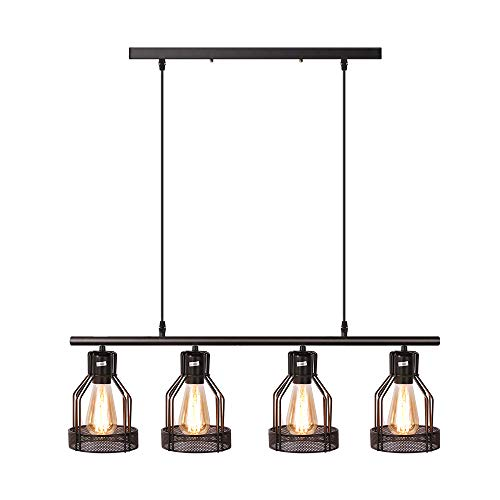 Finish Paint Pendants - Kitchen Island Lighting 4-Light Pendant Light Fixture with Paint Finish Cage Lampshade Modern Industrial Chandelier