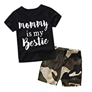 2 Pcs/Set Toraway Clothes Sets Suit Newborn Toddler Baby Boys Letter Print T-shirt Tops + Camouflage Shorts Pants Clothes Outfits (6-12 Month, Black)