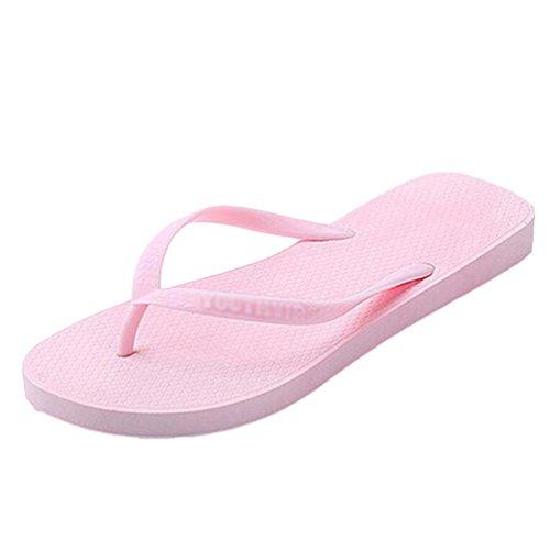 Yiiquan Moda Mujer Verano Plano Chanclas Casual Sandalias Clip toe Zapatos Rosado