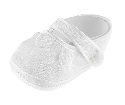 Bebé Niños Niñas Blanco Lace Up Zapatos de bautizo patucos sandalias de roseta