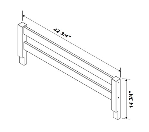 "Safety Rail Guard for Beds and Bunk Beds 1006 by Palace Imports, Java, 14.75""H x 42.75""W, 2""x 2"" Posts"