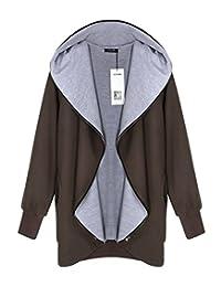 ACEVOG Women Hoodie Hooded Parka Zipper Jacket Cardigan Blazer Coat Outwear