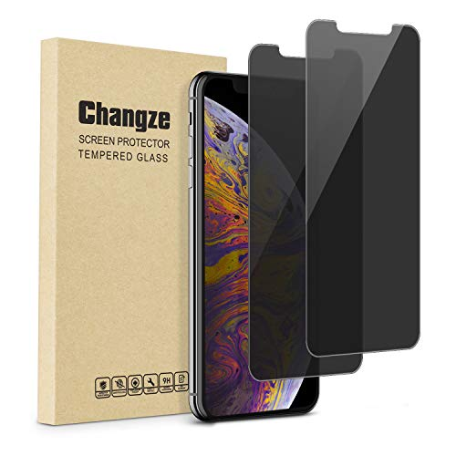 Changze Privacy Screen Protector for iPhone 11 Pro Max/ iPhone Xs Max(6.5inches)Pack of 2, Anti Spy 9H Hardness Tempered Glass Film Resist Scratch Anti Crack &Fingerprints.