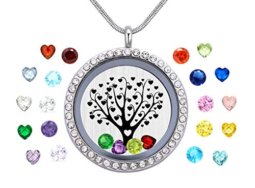 Set Floating Heart Pendant - Vinncy Tree of Life Family Locket Floating Living Memory Necklaces Pendant, Best Gifts for Mother, Aunt, Mom, Nieces, Grandma, Daughter, Mother Day Jewelry