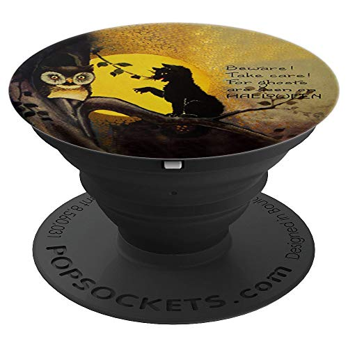 Vintage Halloween Greeting Card Black Cat and Owl with Poem - PopSockets Grip and Stand for Phones and Tablets