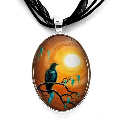 Raven in Dark Autumn | Crow Moon Pendant Necklace Tree Branches Handmade Jewelry