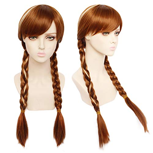JoneTing Brown Wig for Kids Long Braided Wig for Wonen Brown Cosplay Wig Ombre Blonde Wig for Movie