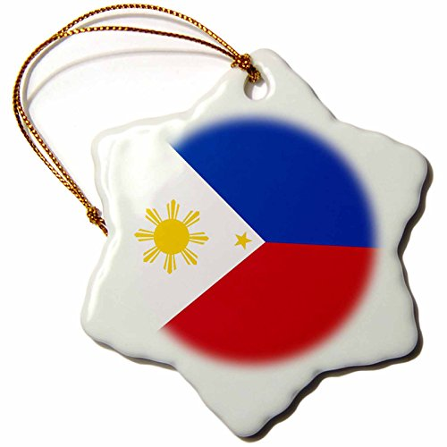White Star Ornament (3dRose orn_159807_1 Flag of The Philippines Filipino Blue Red White with Golden Yellow Sun and Stars-Snowflake Ornament, Porcelain, 3-Inch)
