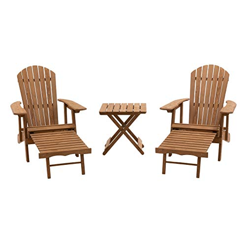 Natural Finish Wood 3 Piece Oversized Adirondack Chair Set Outdoor Furniture 2 Adirondack Chairs with Pull Out Ottomans and Side Table (Ottoman Adirondack Retractable Chairs With)