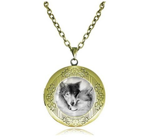 (Love Wolf Locket Necklace for Couples Lover Natural Grey Wolves Pendant Antique Bronze Jewelry Glass Dome)