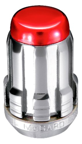 McGard 65357RC Chrome SplineDrive Lug Nuts With Red Caps (M12 x 1.5 Thread Size) - Set of 4 (1989 Dodge Caravan Turbo)