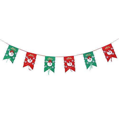 Viet-GT Pendant & Drop Ornaments - 2.6m Merry Christmas Lovely Hanging Flag Santa Claus Pattern Tree Window Decoration Banner Pull Flag 1 PCs