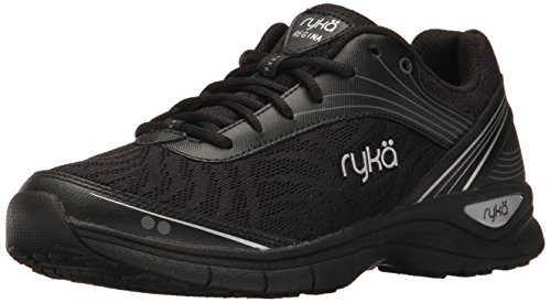 Ryka Women's Regina Walking Shoe, Black/Chrome Silver, 7.5 M US