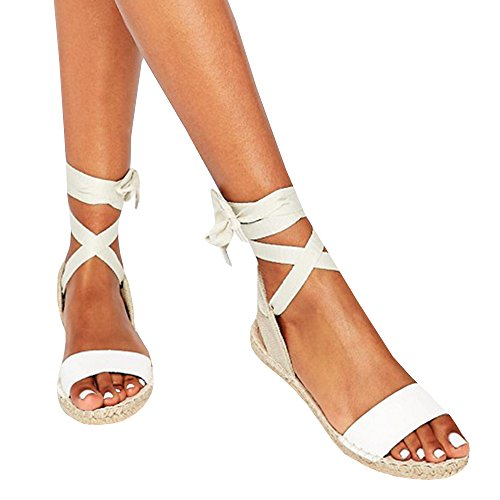 Shele Womens Tie Up Flat Espadrilles Sandals Suede Strap Ankle Wrap Classic Lace Up Shoes (41 EU- 27.53 cm (Foot Length) - 9 US, Z-White) (39 EU- 26.18 cm (Foot (Ankle Tie Shoes)