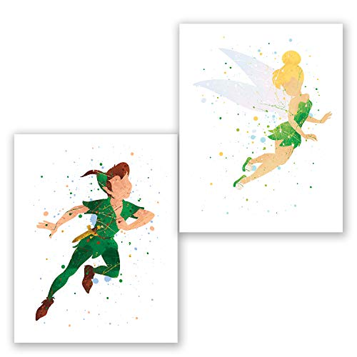 Peter Pan and Tinkerbell Posters - Set of 2 Art Prints - Kids Room Nursery Wall Decor - Party Decoration Supplies - Watercolor Artwork (8x10)