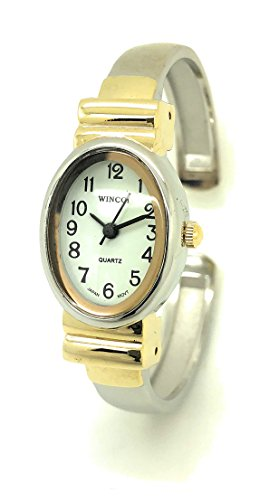 Ladies Small Oval Case Metal Bangle Cuff Fashion Watch White Dial Wincci (Two Tone)