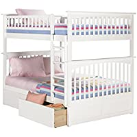 Columbia Bunk Bed with 2 Flat Panel Bed Drawer, Full Over Full, White