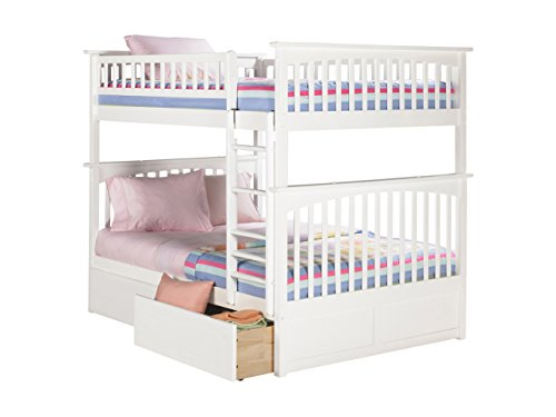 Columbia Bunk Bed with 2 Flat Panel Bed Drawer, Full Over Full, White Review