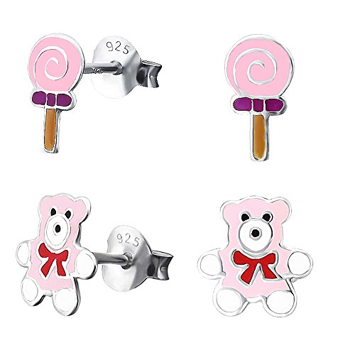 Children's 925 Sterling Silver Enamel Pink Candy Sweet and T