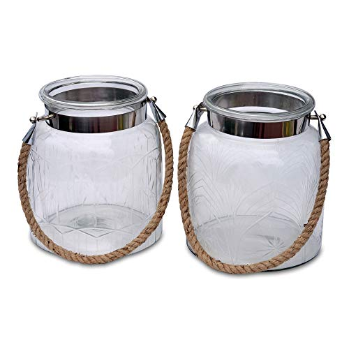 (2 Piece Heritage Farm House Hurricane Candle Lantern Set, Rustic Clear Glass, Etched Patterns, Metal Clad with Natural Rope Handle, 7 1/2 D x 9 H Inches)