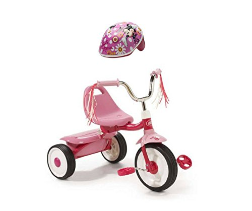 Radio Flyer Ready-To-Ride Folding Tricycle Bundled with Disney Minnie Mouse Toddler Helmet, Pink (Minnie Mouse Motorcycle)