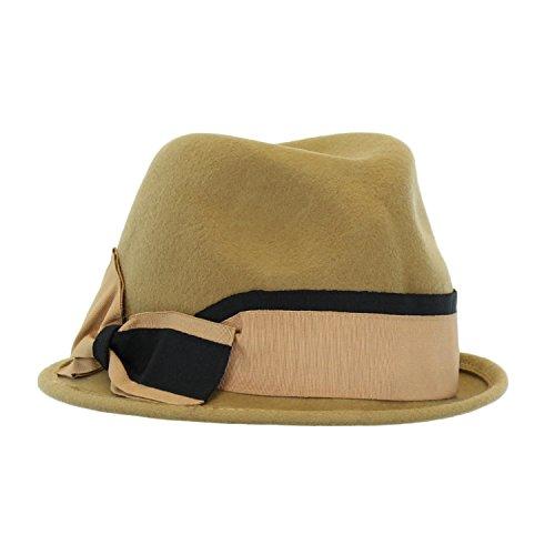 Camel Women's Winter Fedora Hat w/Ribbon Bow, Pinch Front Crown, Stingy Brim