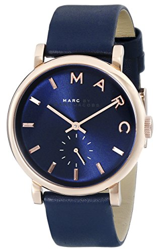 마크바이마크제이콥스 베이커 시계 네이비 Marc by 마크 제이콥스 Marc Jacobs Womens MBM1329 Baker Stainless Steel Watch with Blue Leather Band Navy